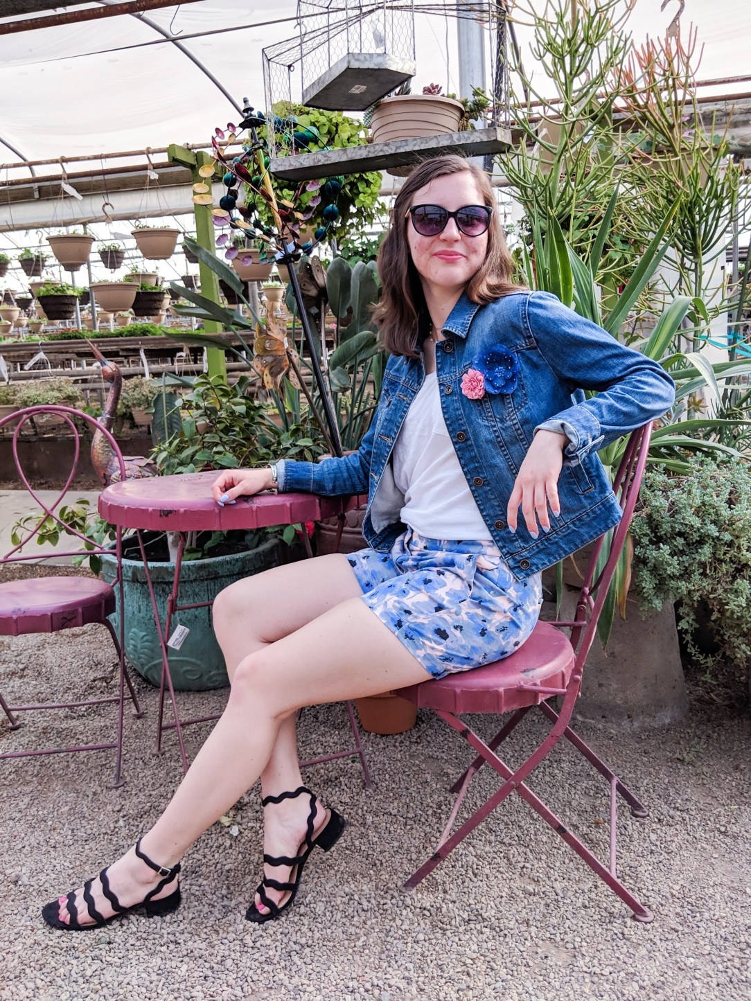 spring outfit, blue and pink outfit, casual floral spring