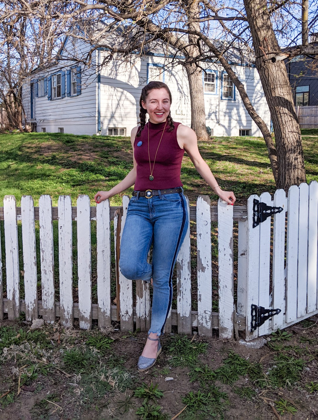 tuxedo stripe jeans, maroon mock-neck top