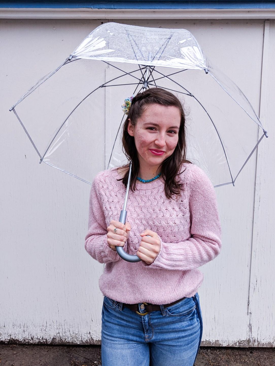 pink Elizabeth Arden lipstick, pink JCPenney sweater