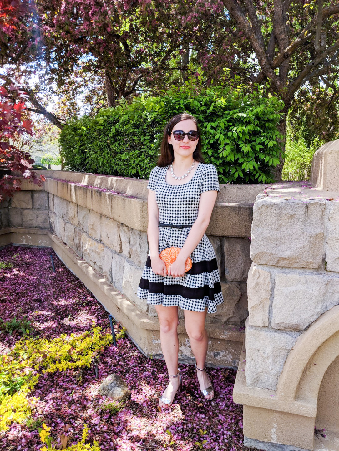 Easter outfit, checkered dress, orange purse, silver heels