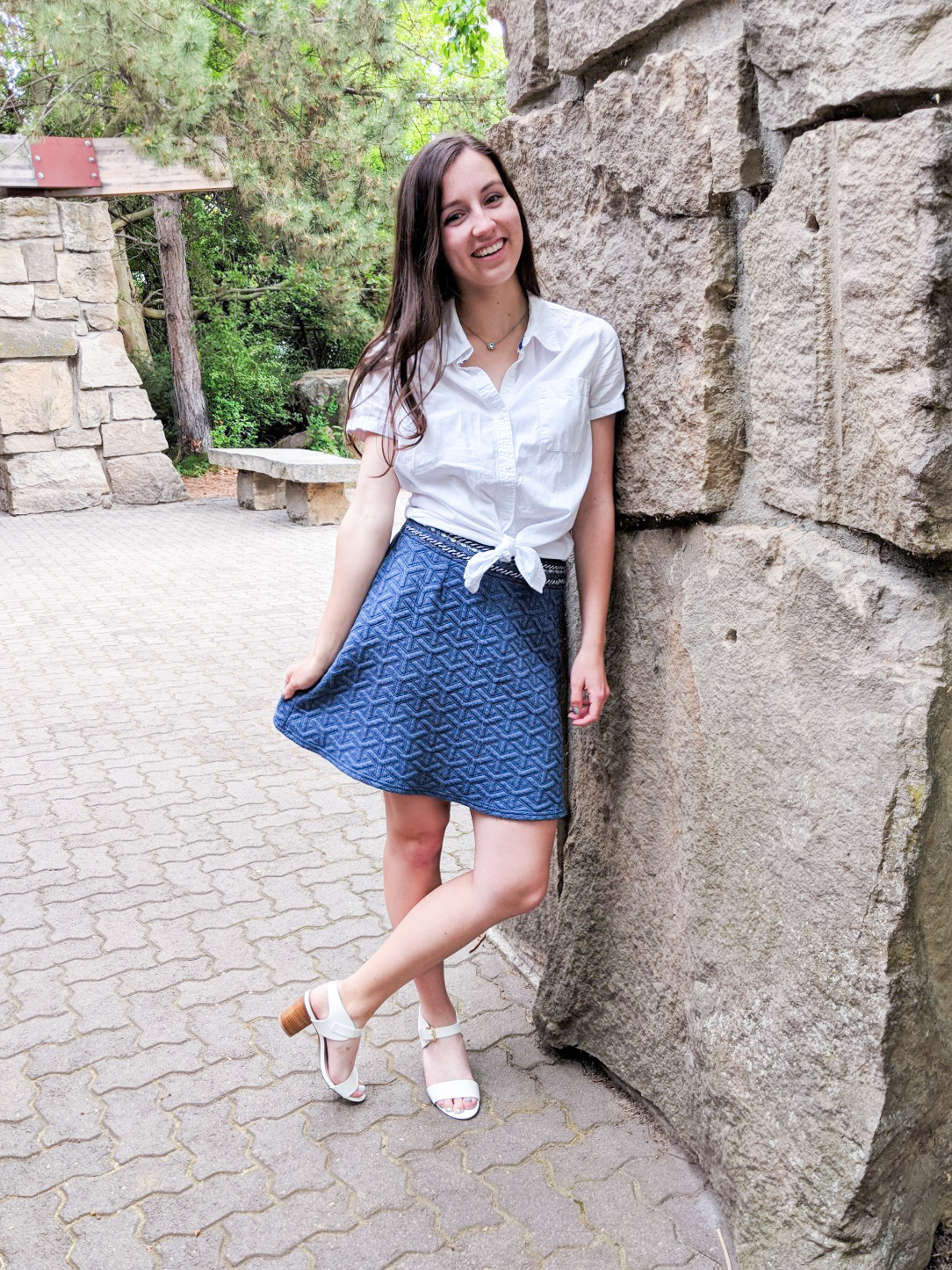 blue textured skirt, white heels, knotted white blouse, Easter outfit