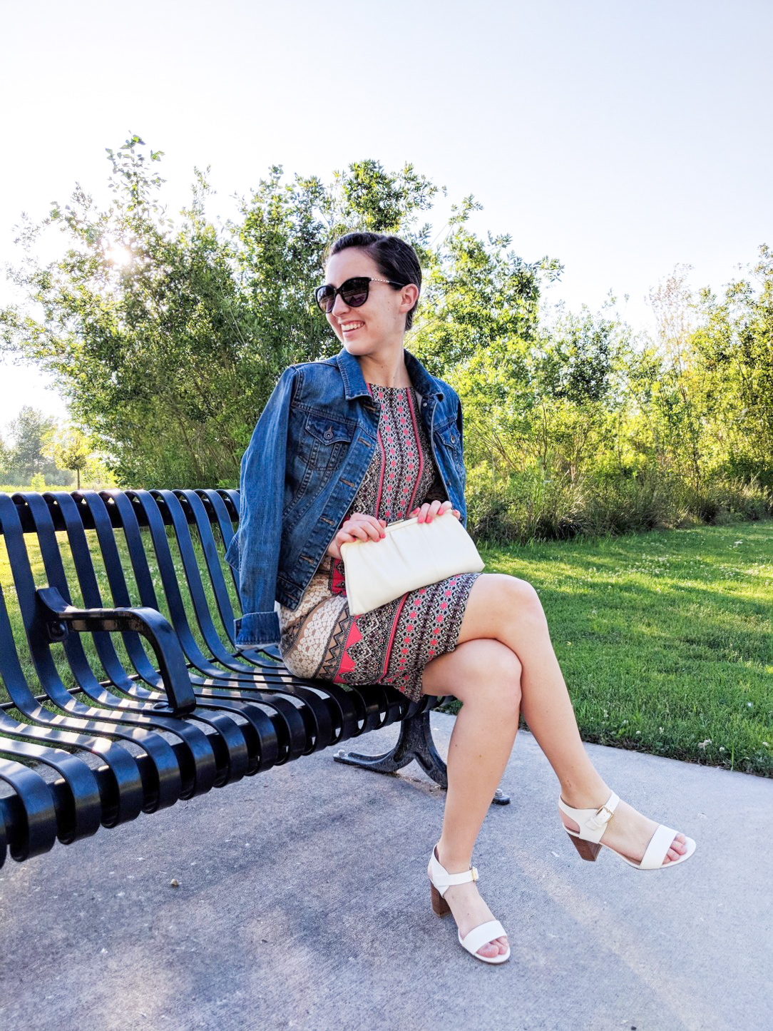 spring dress, denim jacket, white heels