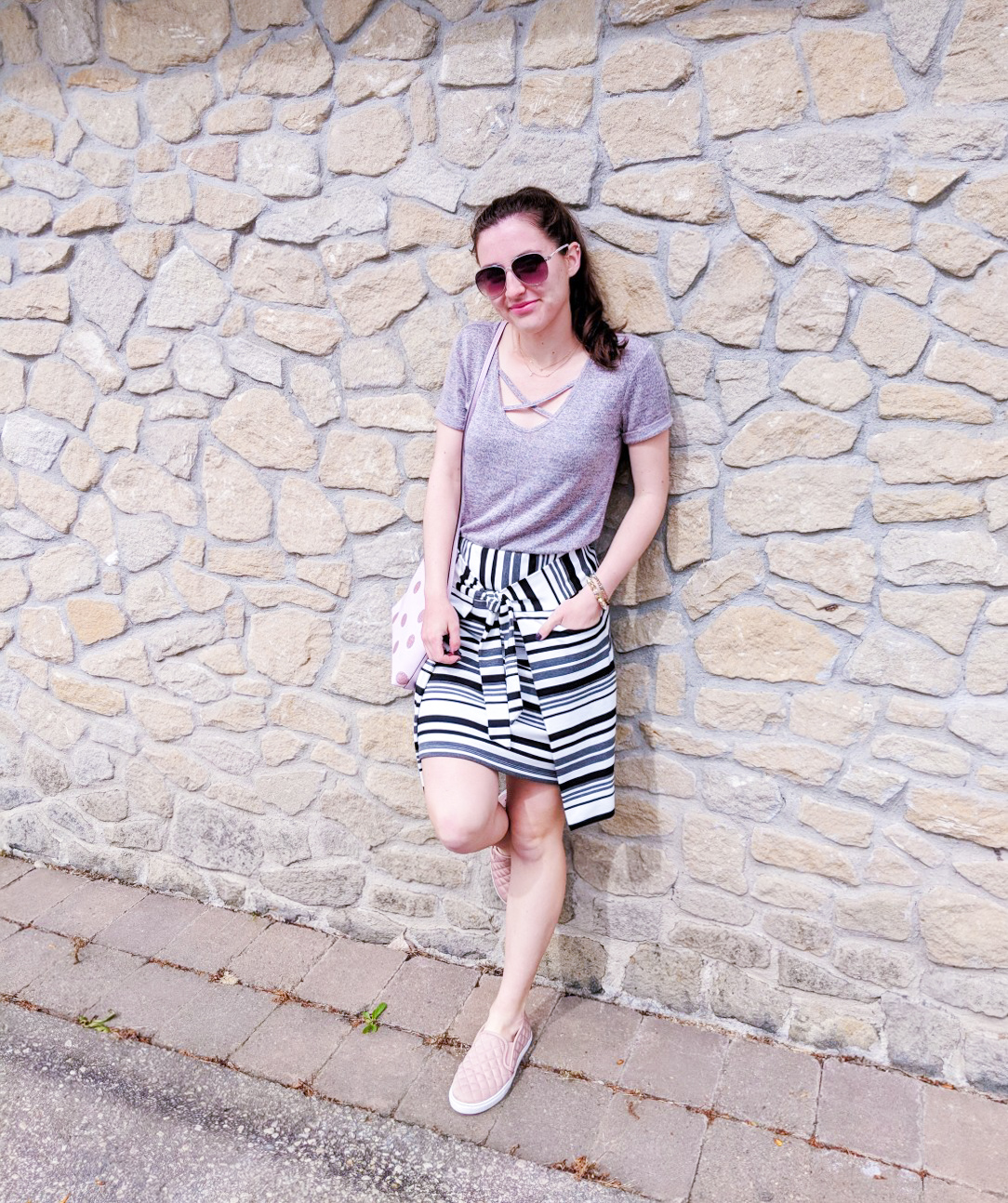 blush top, striped skirt, Cabi clothing, blush sneakers, pattern mixing