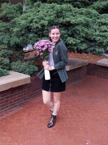 pink flowers, leopard rain boots, black mini skirt, blush shirt, green army jacket