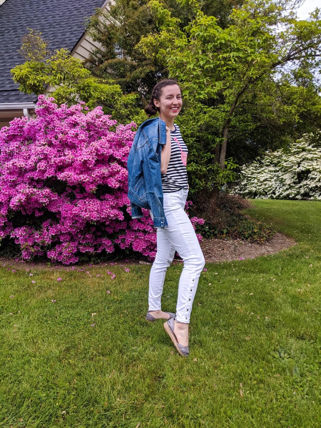 striped shirt, flamingos, white jeans, sparkly espadrilles