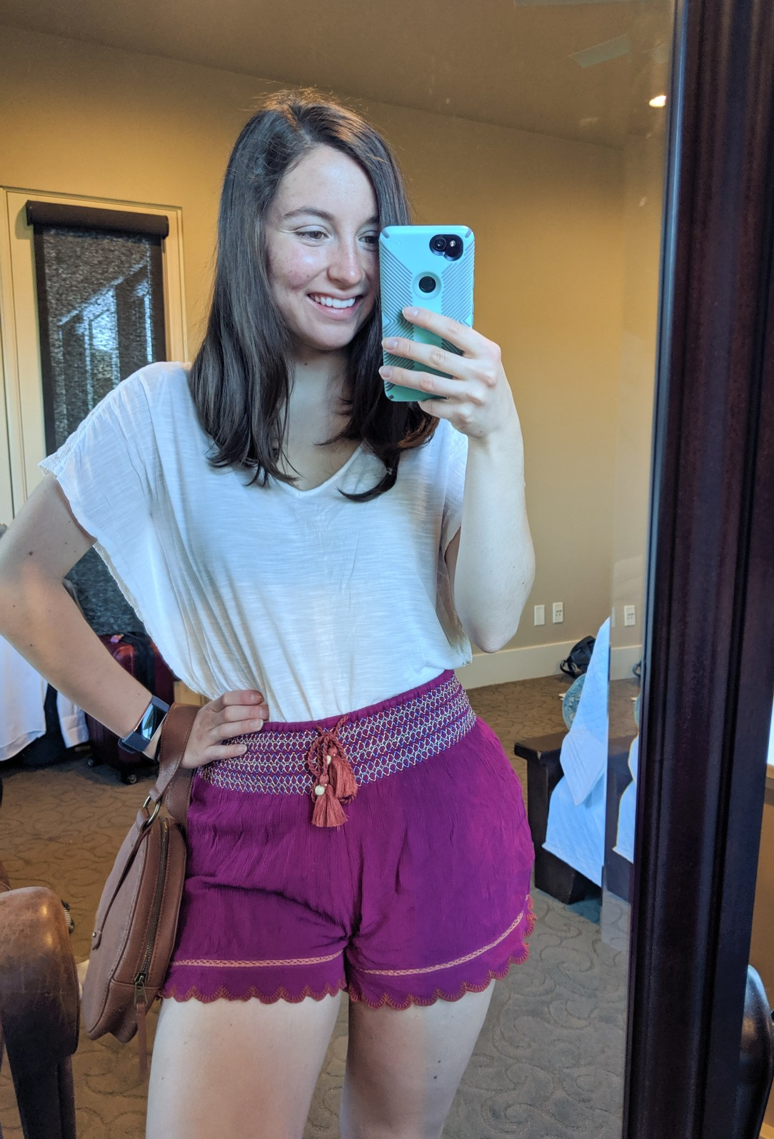 pink embroidered shorts from Francesca's