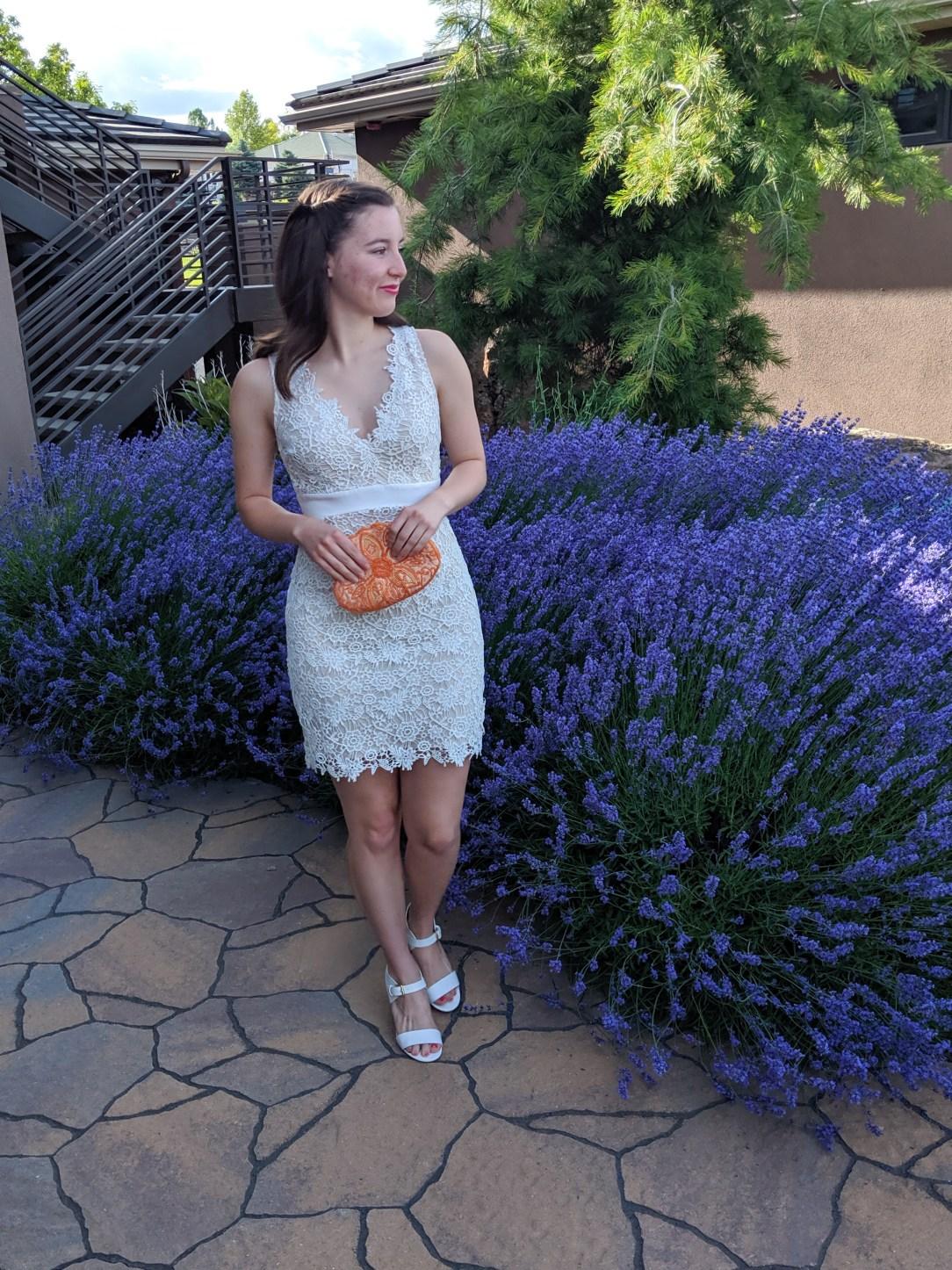 white lace bodycon, orange beaded purse, DSW heels