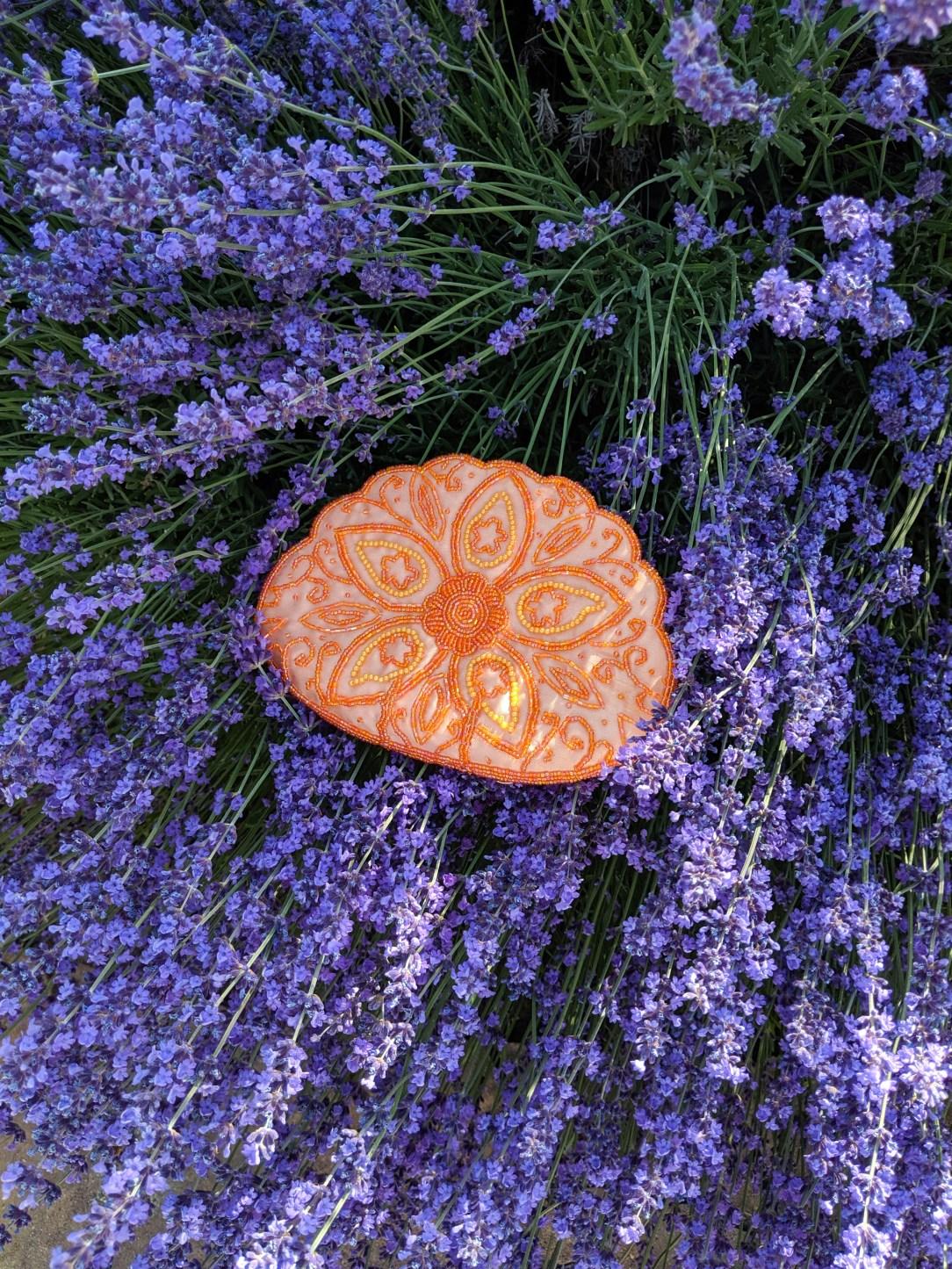 orange beaded purse, orange clutch, lavender