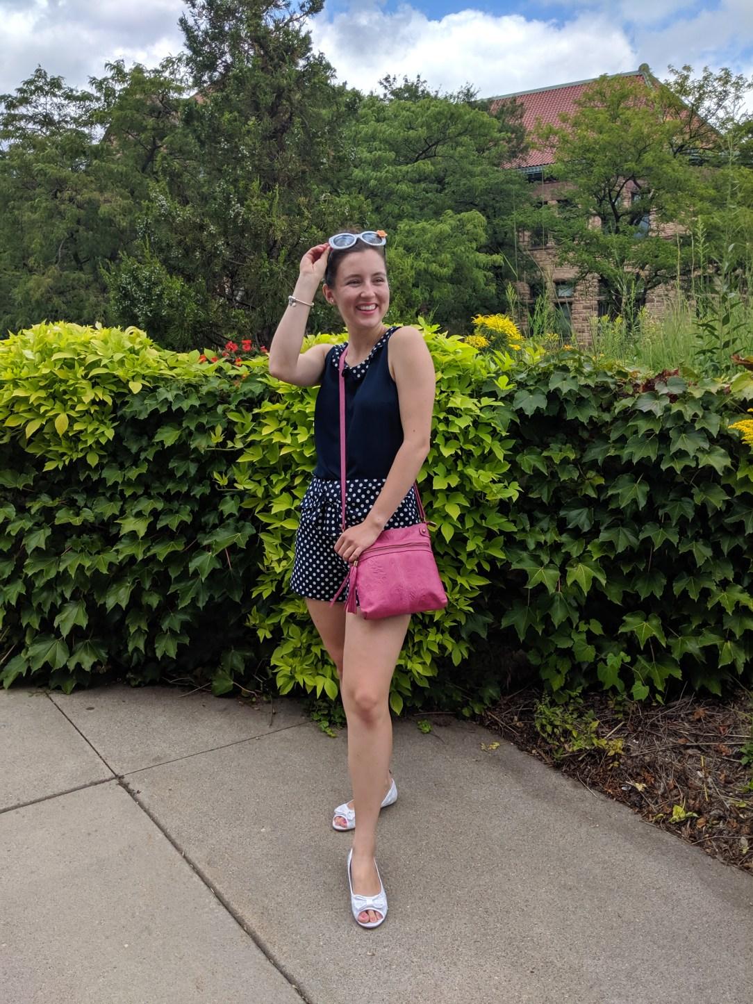 polka dots, pink purse, Kohl's, white shoes