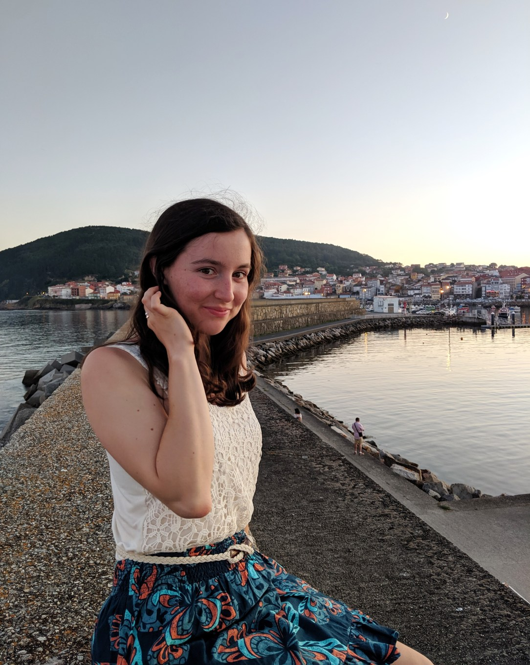 crochet top, patterned skirt, coastal town, Spain