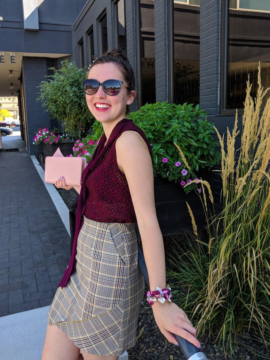 fashion blogger, NYFW, plaid skirt, pattern mixing