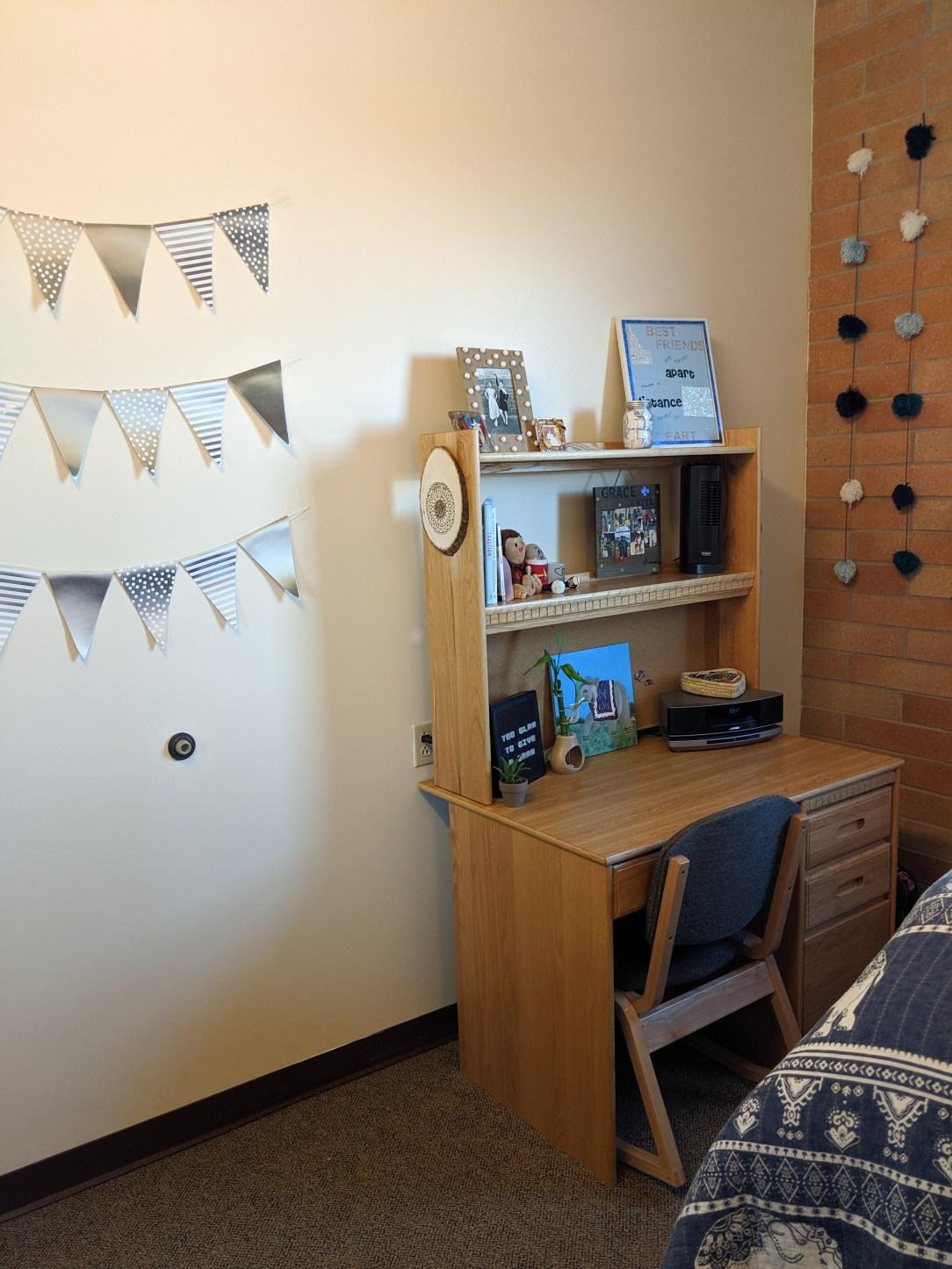flag garlands, desk space, handmade decorations