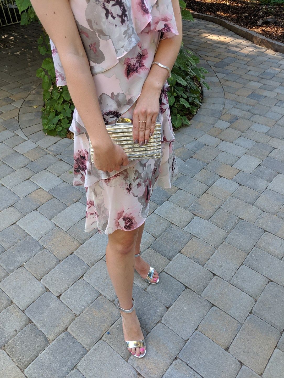 silver block heels, floral flowy dress