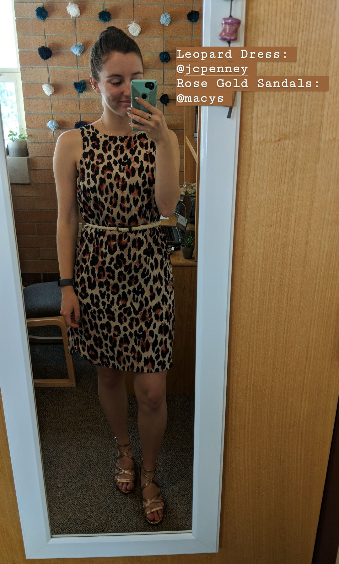 leopard dress, trendy, JCPenney, rose gold sandals