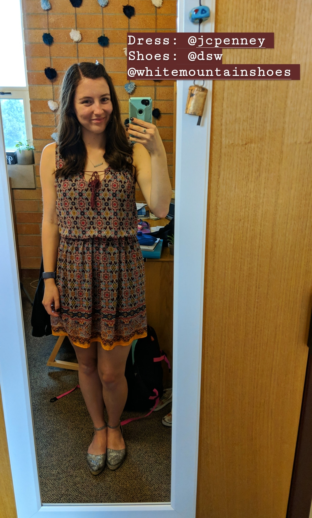 maroon patterned dress, sparkly espadrilles, fall outfit