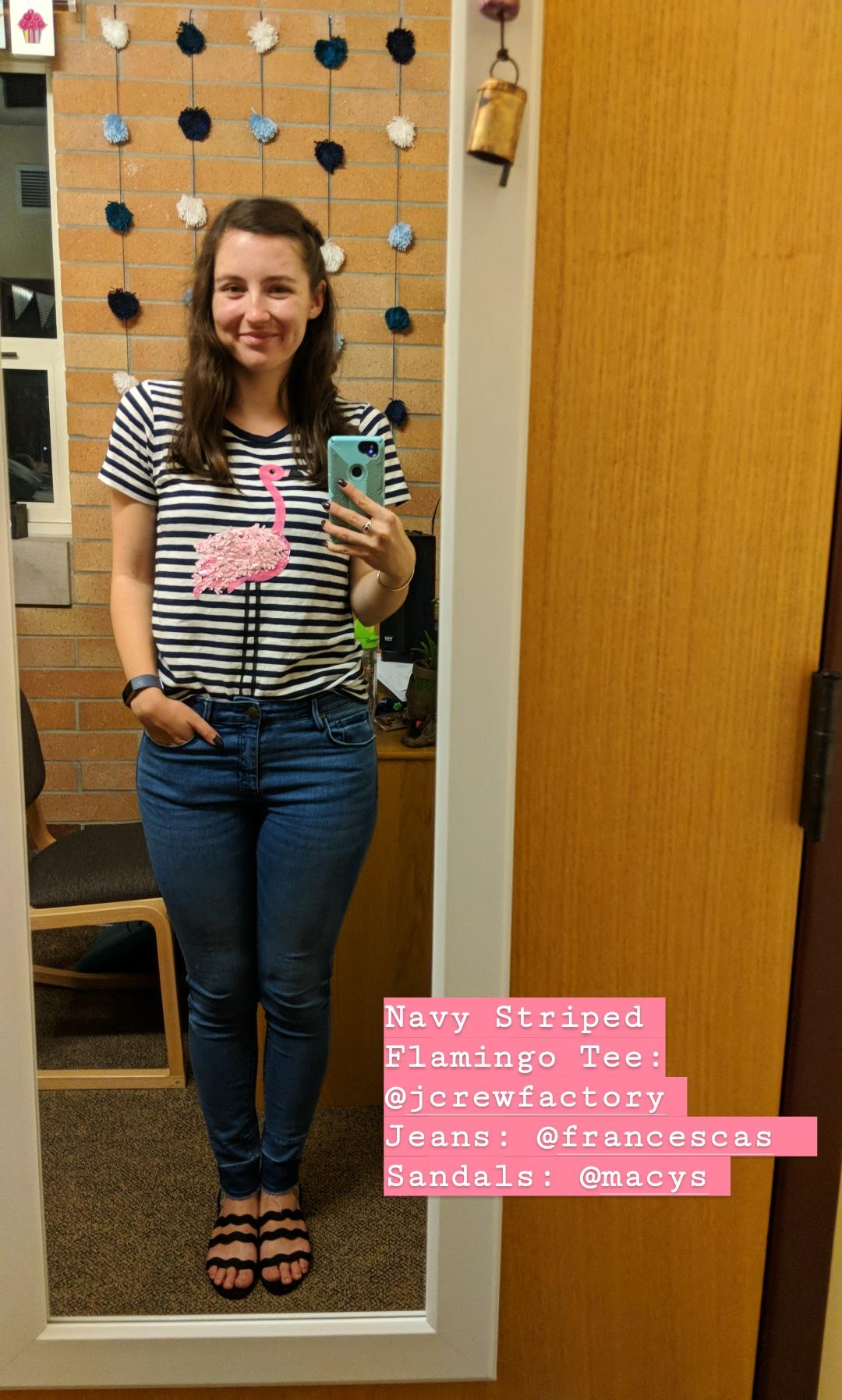 pink flamingo tee, stripes, skinny jeans, Francesca's, JCrew