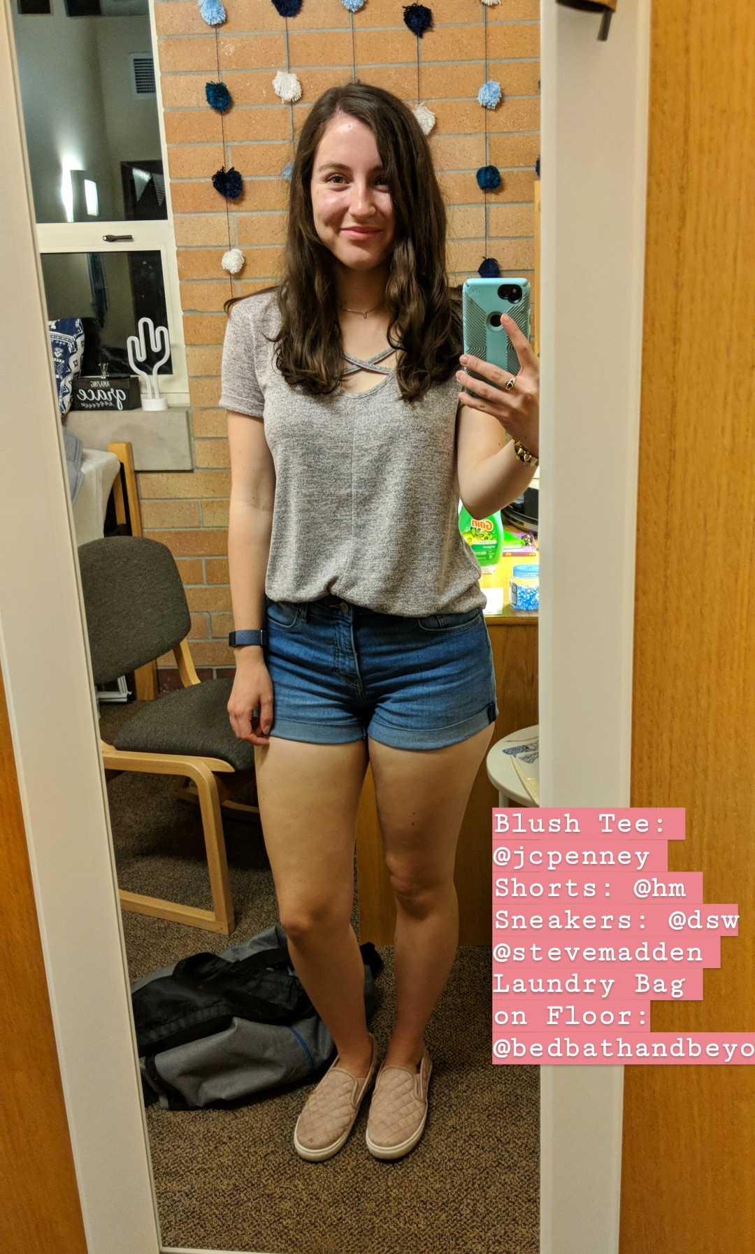 blush tee, jean shorts, casual style, college style