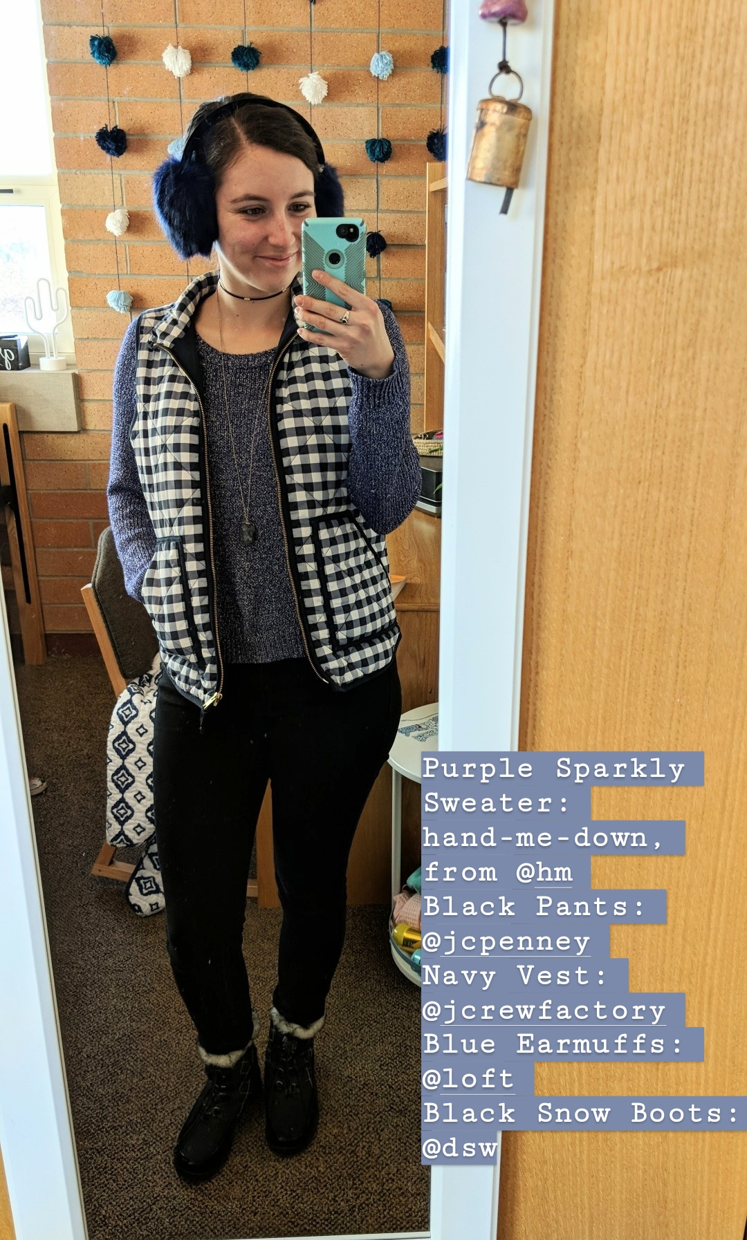 sweater weather, fall outfit, purple sweater, patterned vest, fur earmuffs