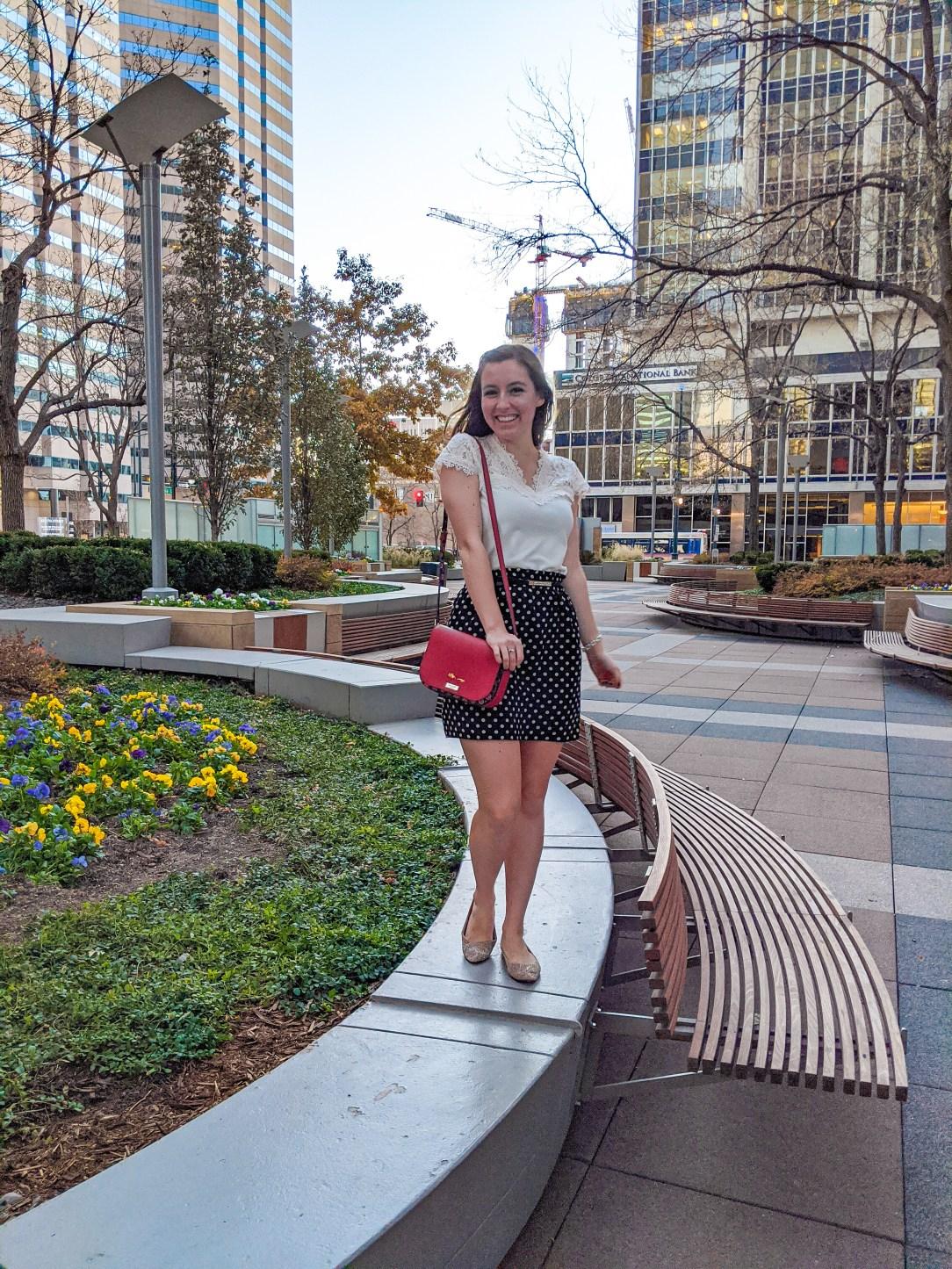 lace blouse, polka dot skirt, red purse, Denver fashion blogger