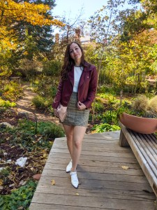 fall look, fall fashion, burgundy jacket, white booties, white mules