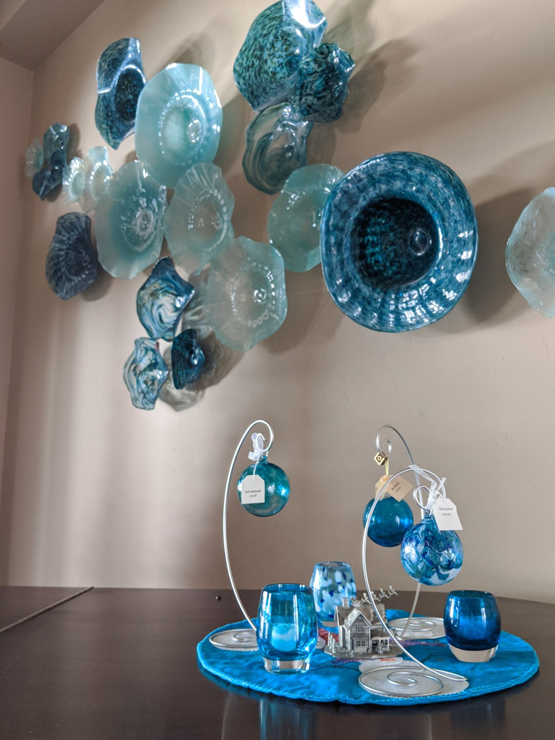 glass-blown ornaments, glass votives, Friends for Life Guild