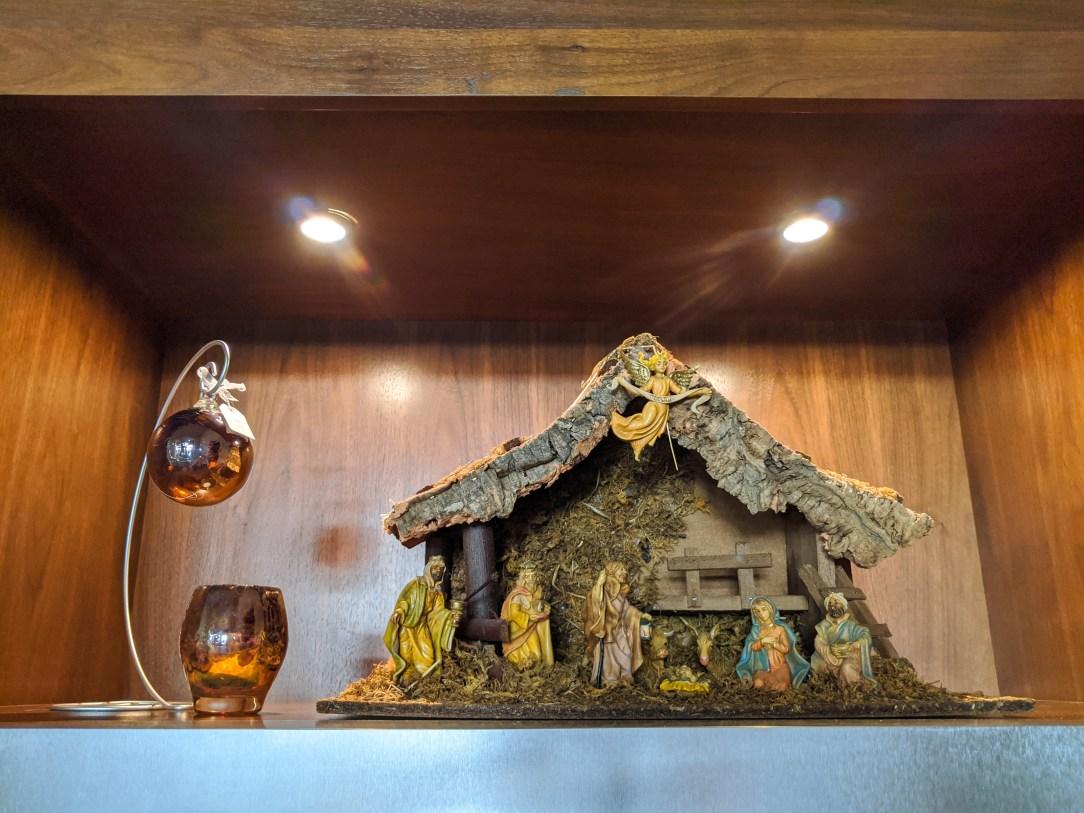 Christmas decorations, glass votives, glass ornaments