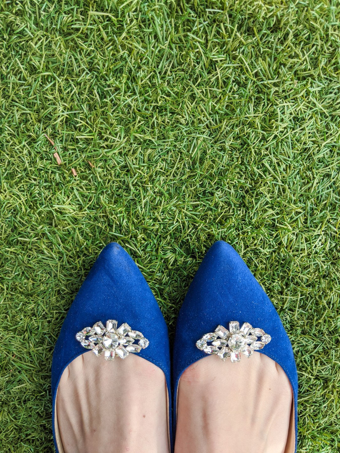 blue suede shoes, pointed flats, DSW, Sam Edelman, sparkly shoe clips, shoe clips