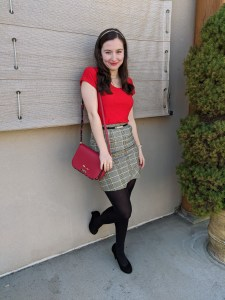 red blouse, Christmas outfit, plaid skirt