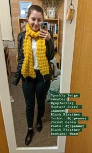 black pleather jacket, green pants, mustard scarf