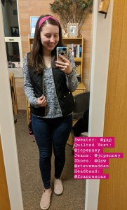 pink headband, quilted vest, skinny jeans
