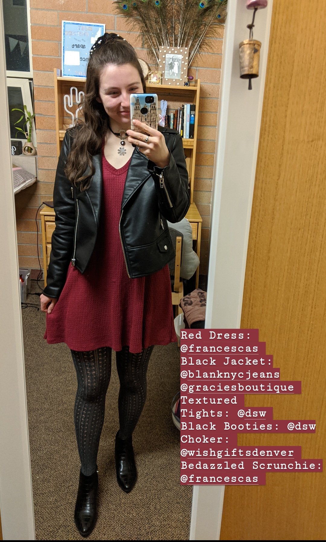 red dress, black pleather jacket, edgy outfit
