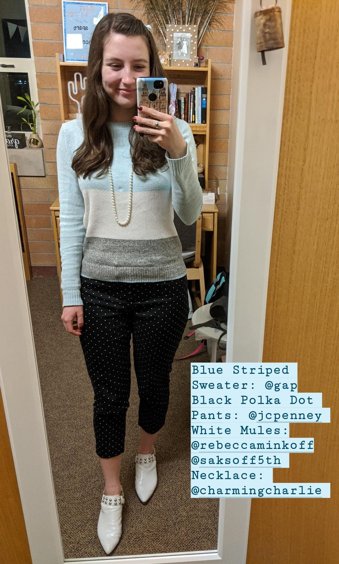 striped sweater, polka dot pants, white mules