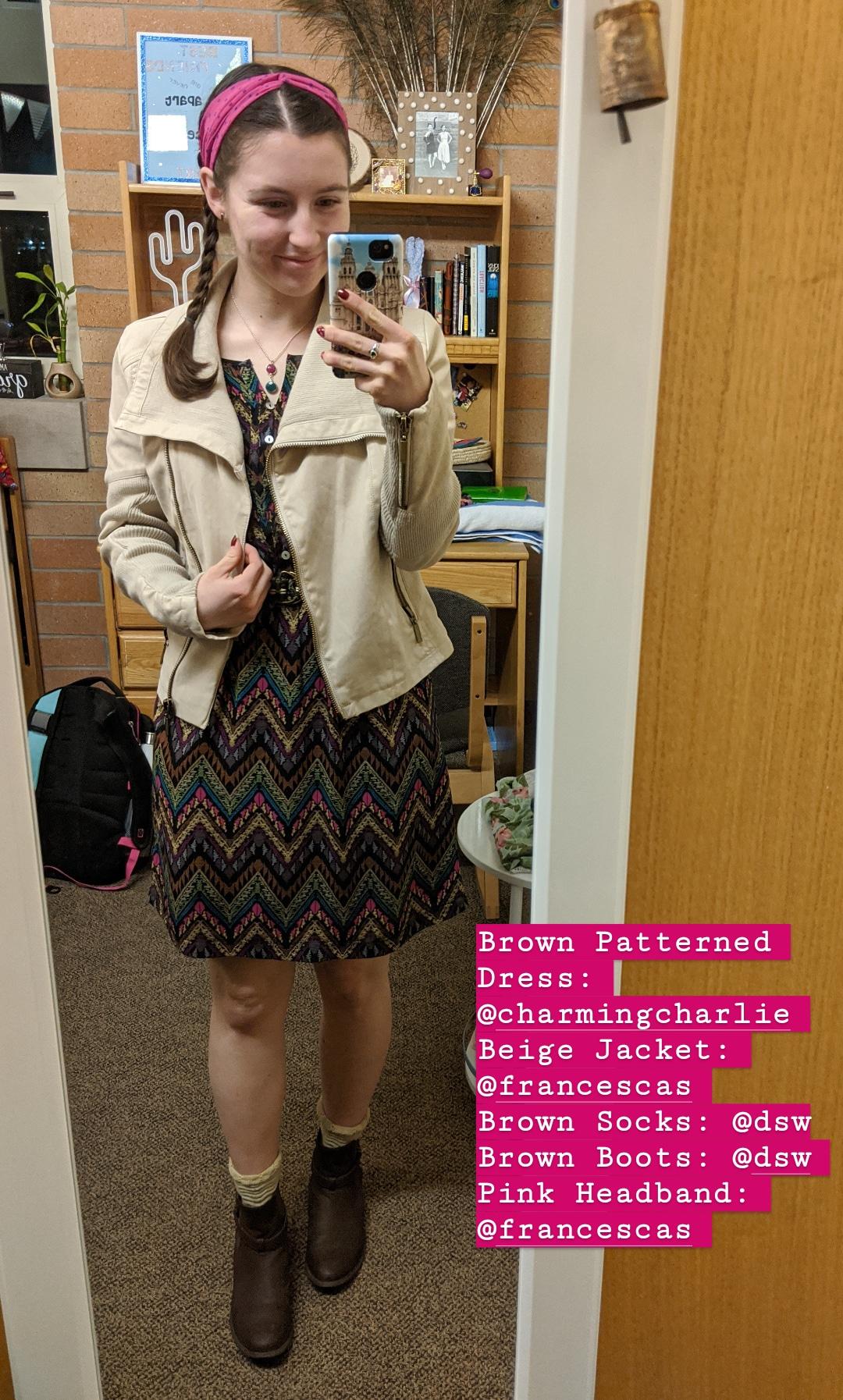 beige jacket, brown patterned dress