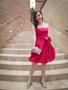 red bow dress, red bubble dress, silver accessories