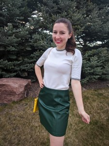 Betty Cooper style, Betty Cooper, green pleather skirt