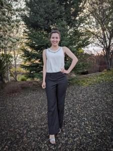 navy trousers, work pants, windowpane pants, thrift shopping