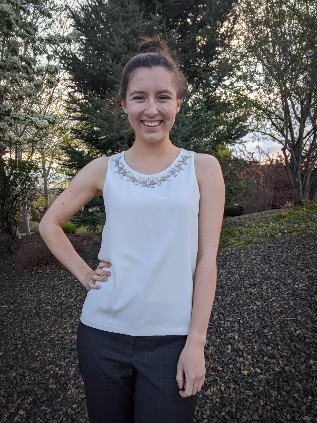 Ann Taylor blouse, white blouse, thrift shopping