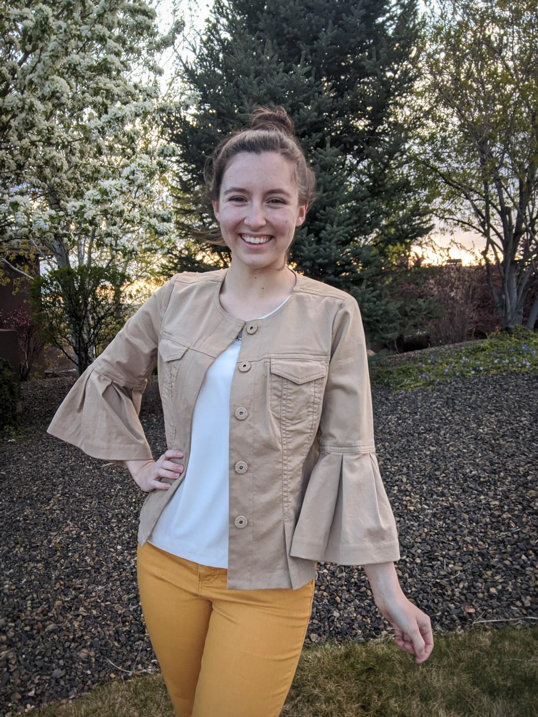 Ann Taylor jacket, flute sleeve jacket, thrift shopping