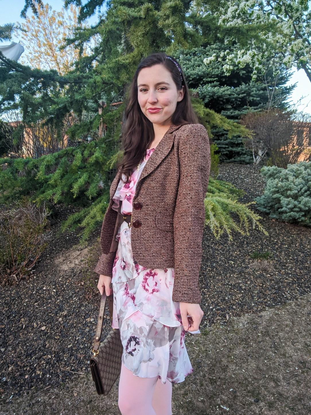 tweed blazer, tiered dress, Blair Waldorf style