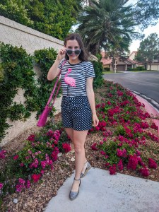 navy on navy, stripes and polka dots, summer outfit, pop of pink