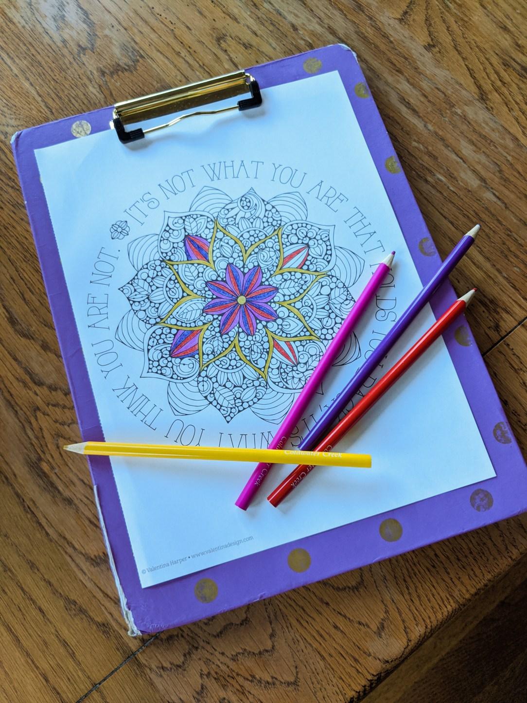 coloring-mandala-quarantine-activities-colored-pencils