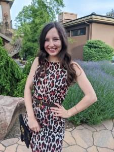 affordable fashion, leopard dress, brown belt, cabi clothing