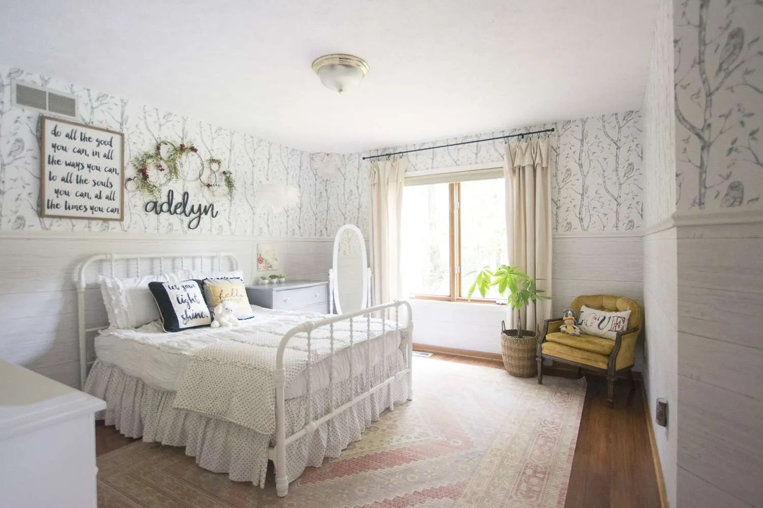 Girls Bedroom Reveal | Creating Structure with Furniture ... on Girls Beautiful Room  id=73783