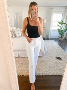 white straight-leg jeans from Abercrombie