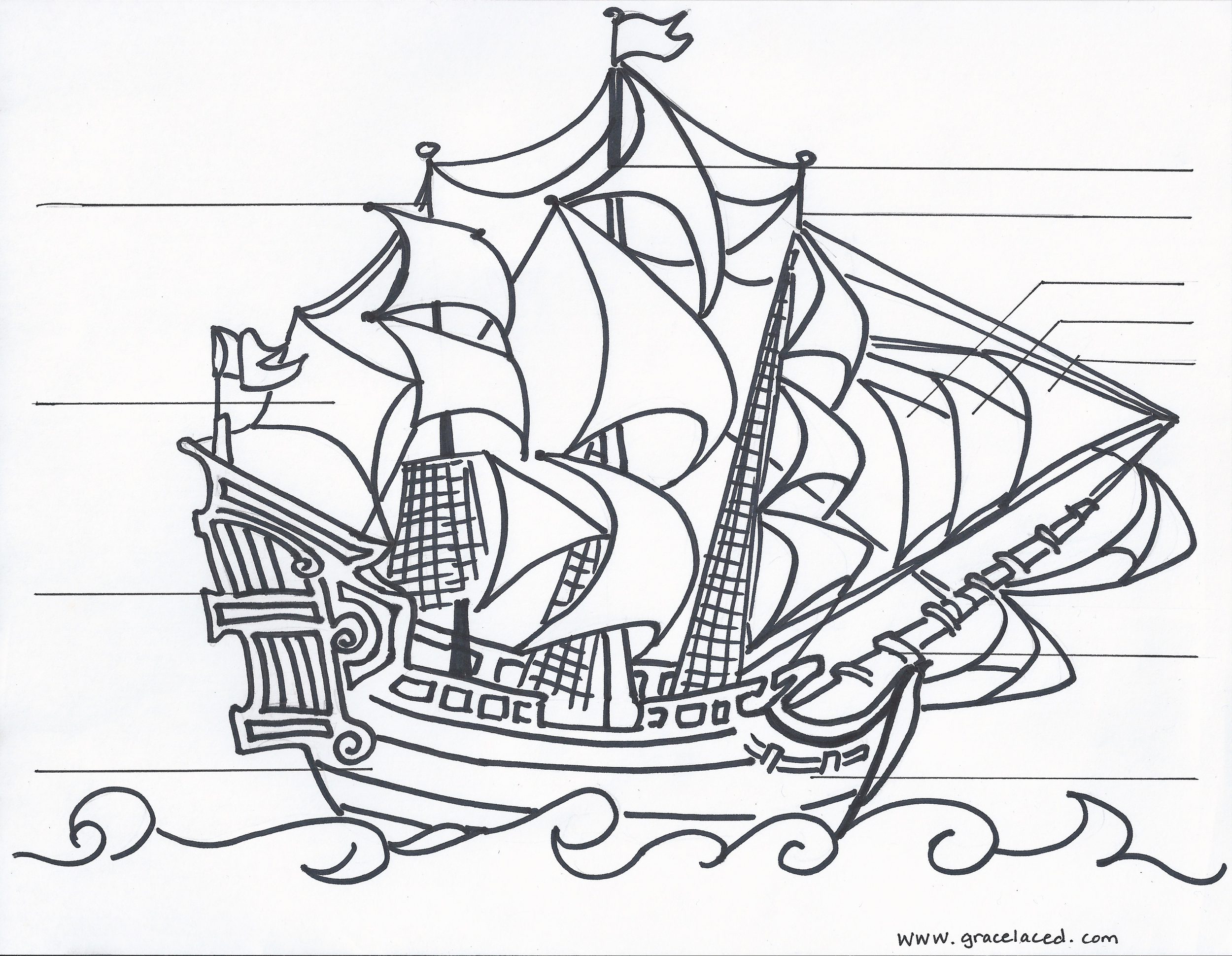 The Anatomy Of A Pirate Ship Coloring Sheet Free