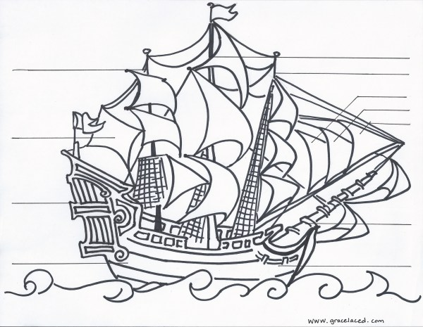 pirate ship coloring pages # 9