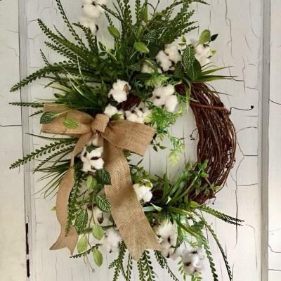 Rustic Cotton Wreath