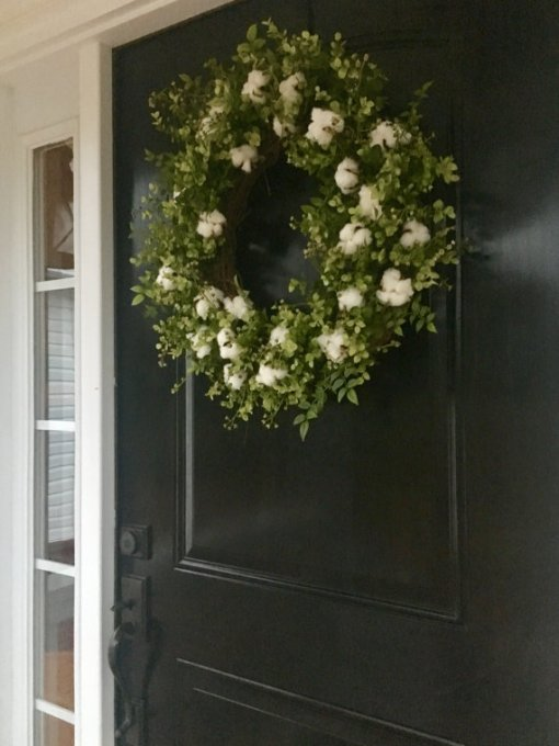 Front Door Wreath with Cotton
