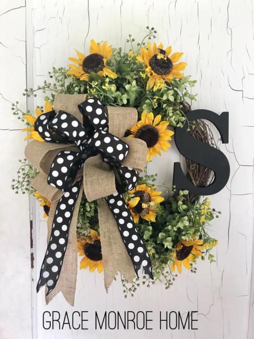 Sunflower Wreath with Monogram