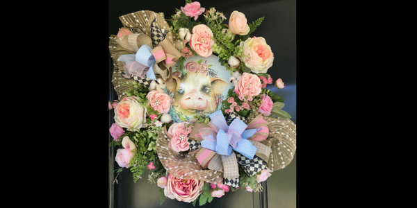 DIY Shabby-Chic Wreath with Pig Sign